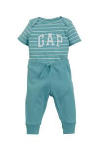 GAP romper + broek mintgroen/wit, Mintgroen/wit