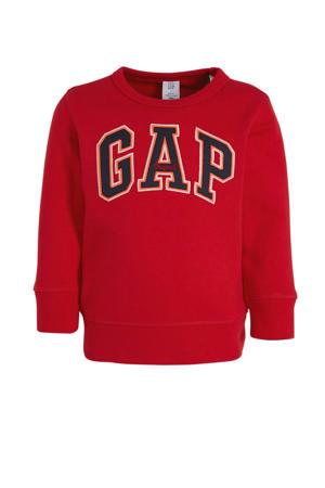 sweater met logo en borduursels rood/donkerblauw/oranje