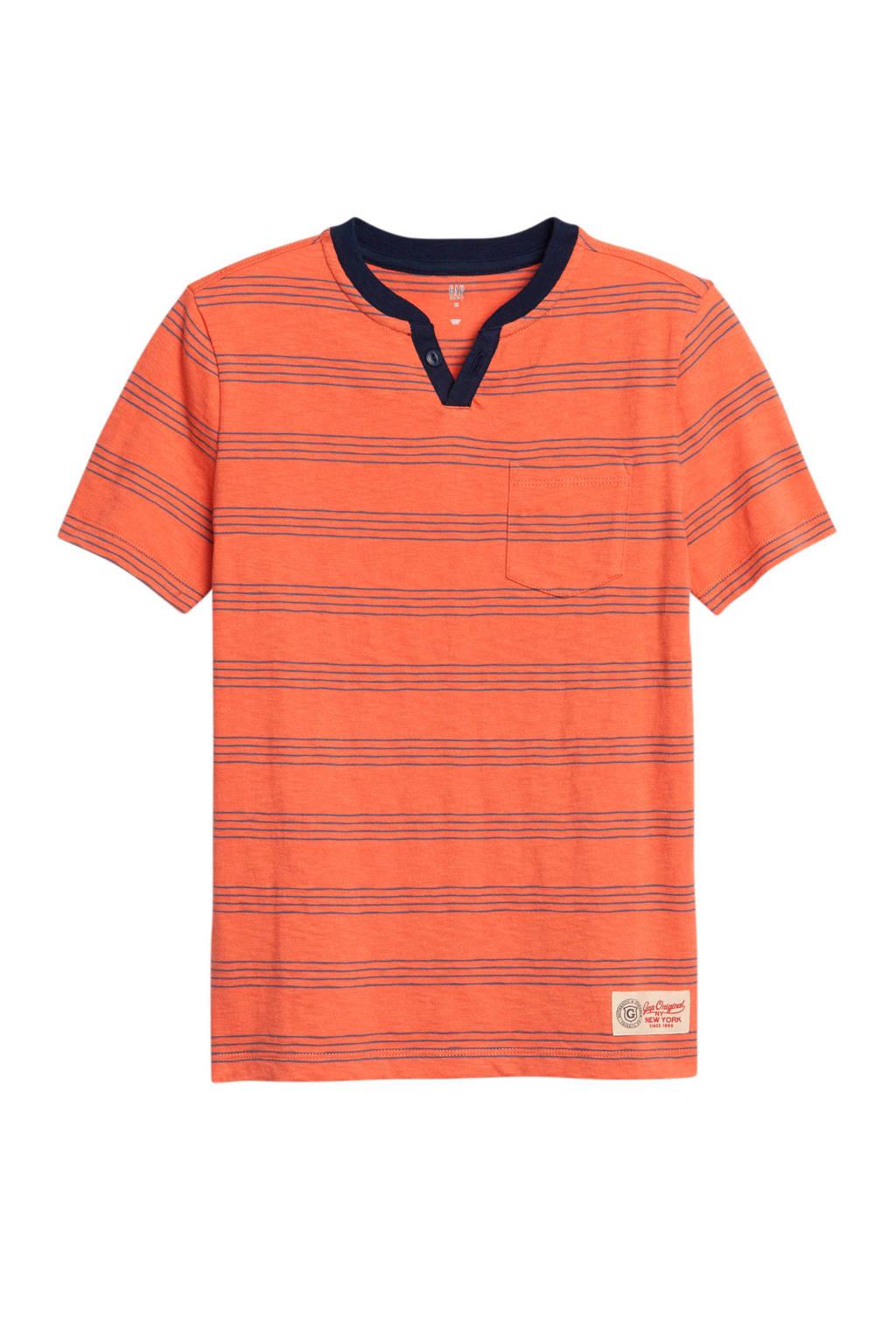 GAP gestreept T-shirt koraalrood/blauw, Koraalrood/blauw