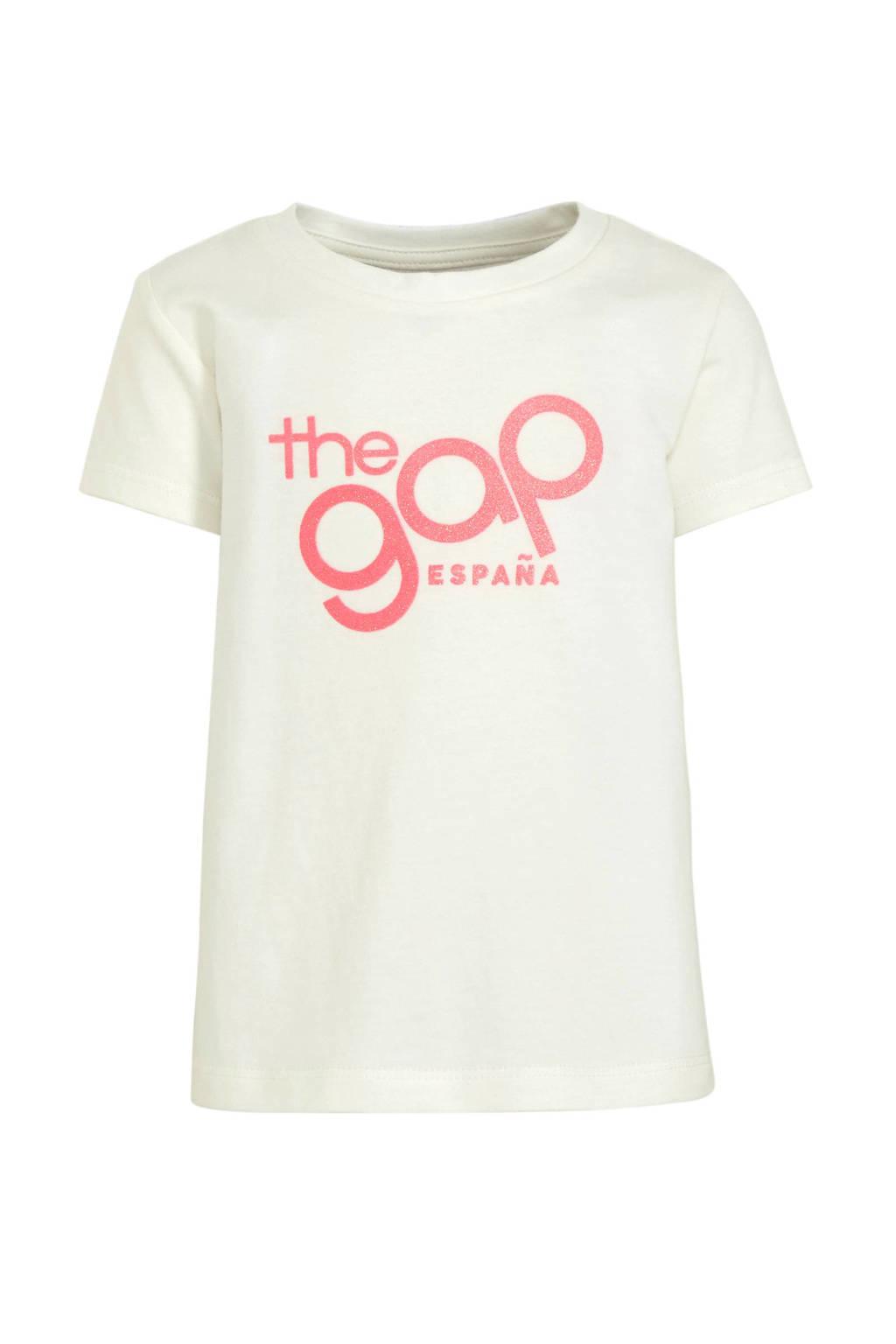 GAP T-shirt met tekst en glitters ecru/roze, Ecru/roze