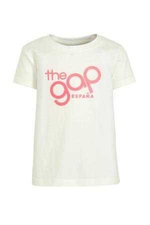 T-shirt met tekst en glitters ecru/roze