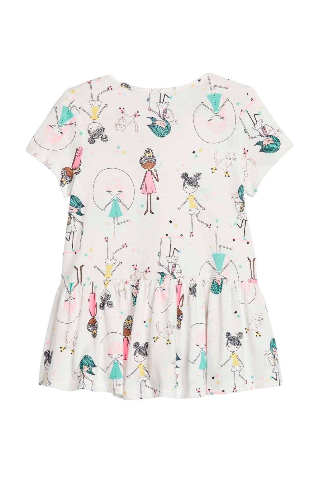 GAP T-shirt met all over print en plooien wit/groen/geel
