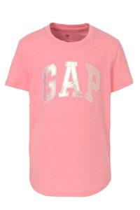 GAP T-shirt met tekst en patches roze, Roze