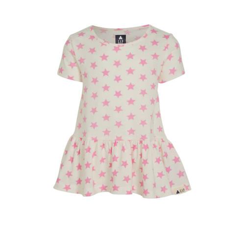 GAP T-shirt met sterren en volant roze/wit