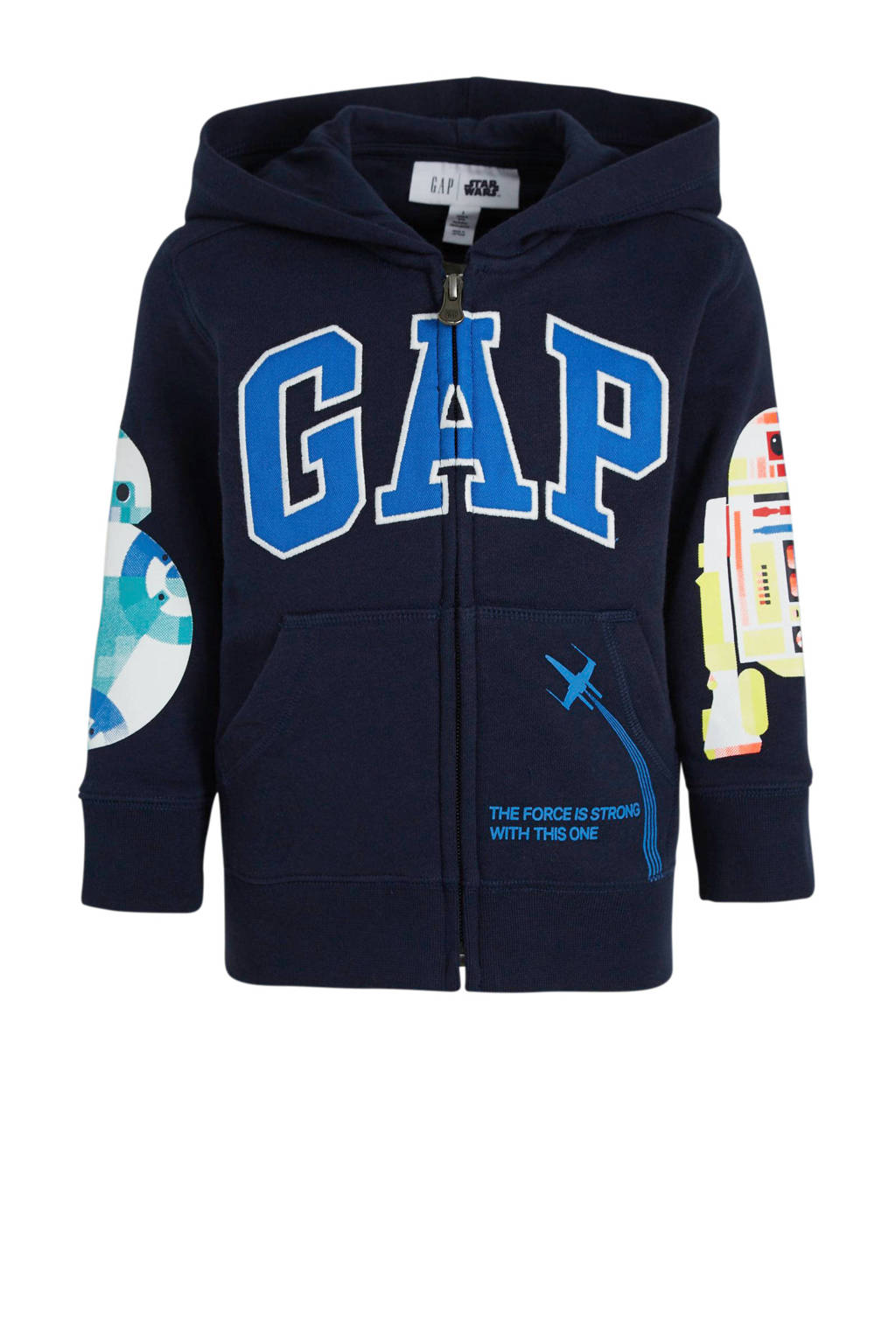 GAP vest met logo en borduursels donkerblauw/blauw/wit, Donkerblauw/blauw/wit