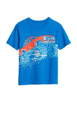 T-shirt met printopdruk blauw/rood/wit