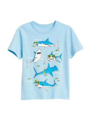 T-shirt met printopdruk lichtblauw/blauw/geel