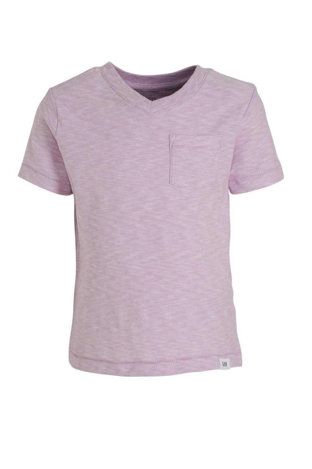 GAP gestreept T-shirt paars/wit, Paars/wit