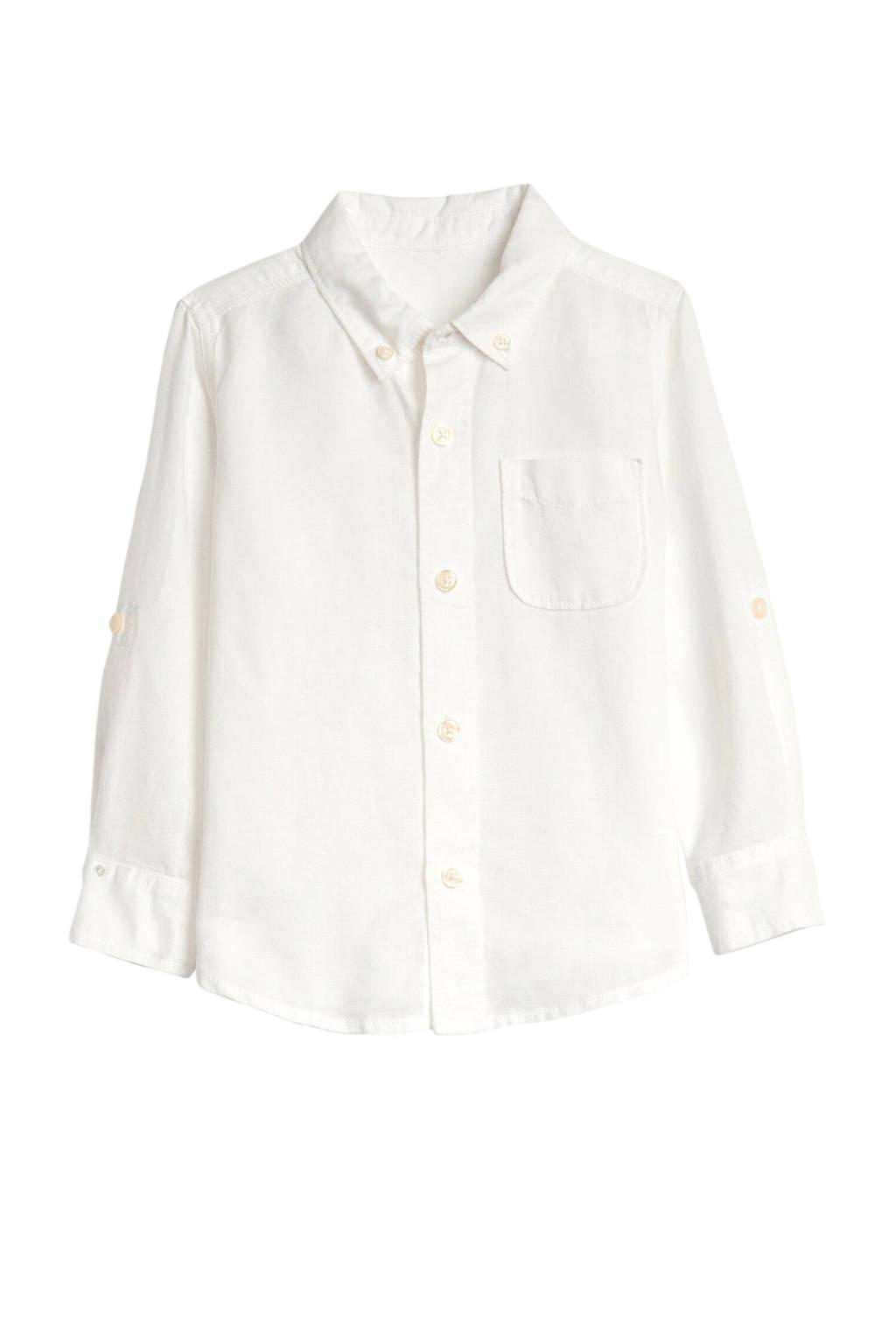 GAP overhemd met linnen wit, Wit