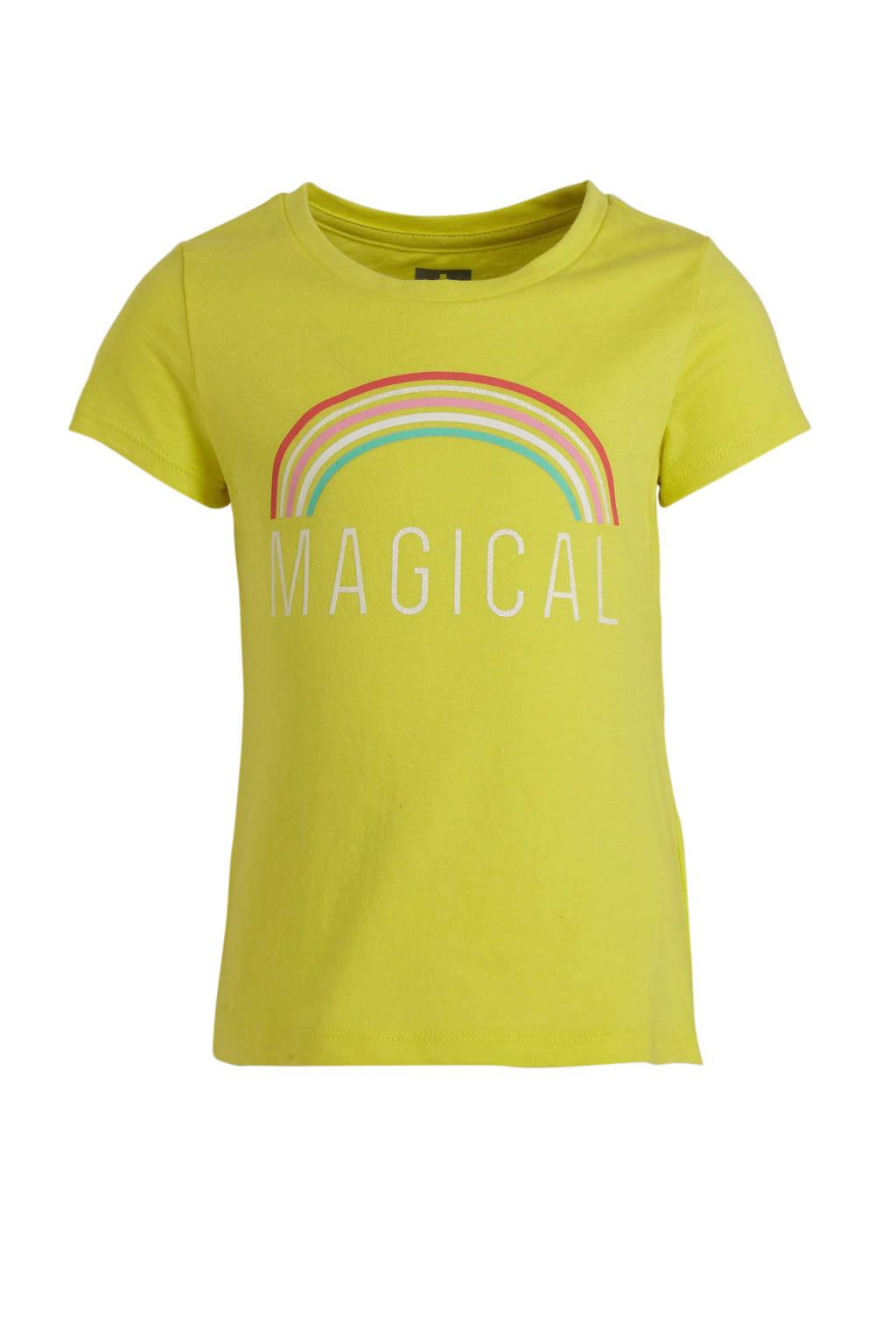 GAP T-shirt met printopdruk en glitters limegroen, Limegroen