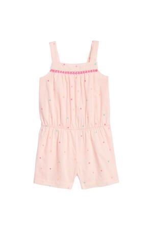 jumpsuit met stippen en borduursels lichtroze/roze/blauw