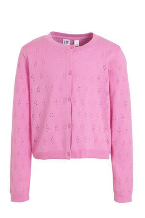 fijngebreid vest roze