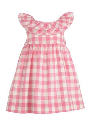 geruite jurk roze/wit