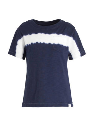 tie-dye T-shirt donkerblauw/wit