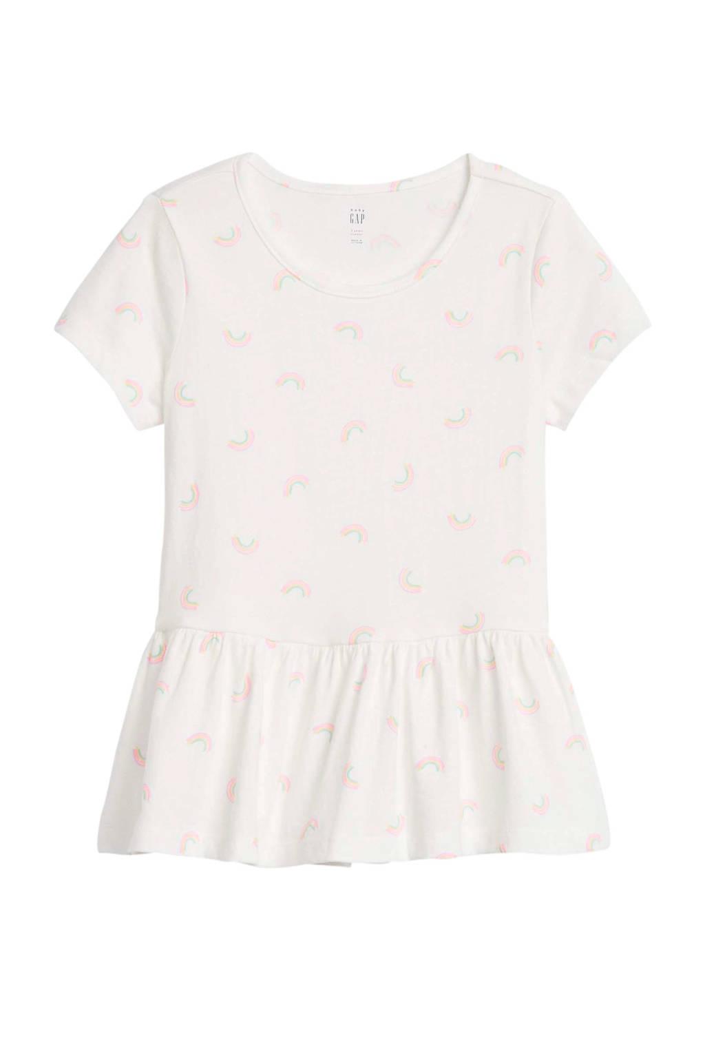 GAP T-shirt met all over print en plooien ecru/roze/paars