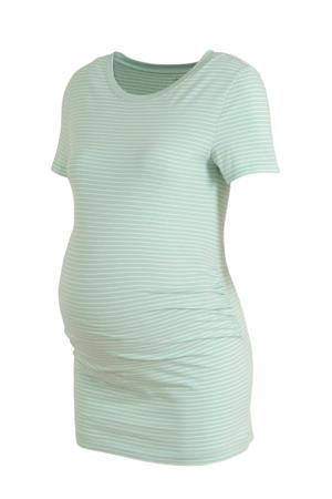 gestreept zwangerschapsshirt mintgroen/ecru