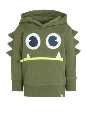 hoodie met printopdruk army groen
