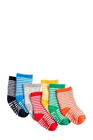 babysokken (7 paar) met streepdessin multicolor