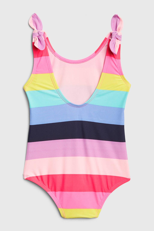 GAP gestreept badpak roze/blauw/geel, Roze/blauw/geel