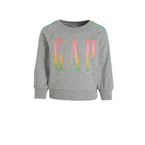 GAP sweater met contrastbies grijs melange/roze