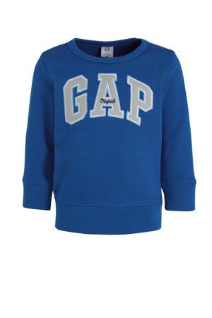 sweater met logo en borduursels hardblauw