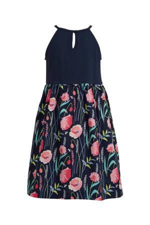 jersey jurk met all over print en plooien donkerblauw/roze