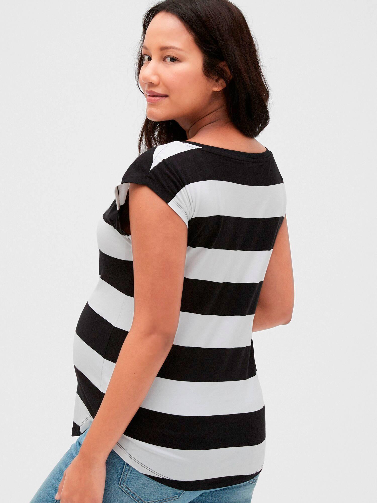 GAP gestreept zwangerschapsshirt wit/zwart