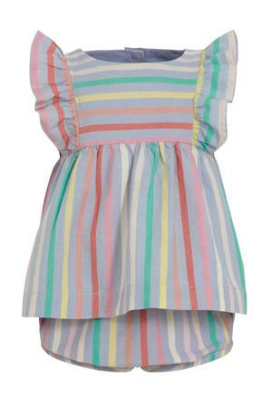 gestreepte baby jurk + broek lila/multi