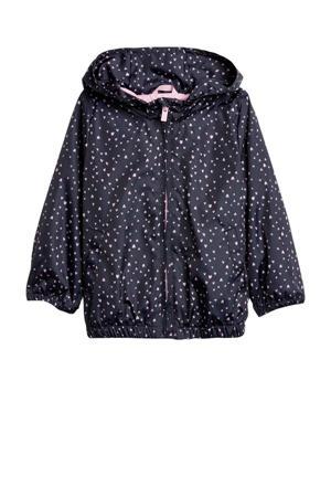 zomerjas met all over print zwart/lichtroze