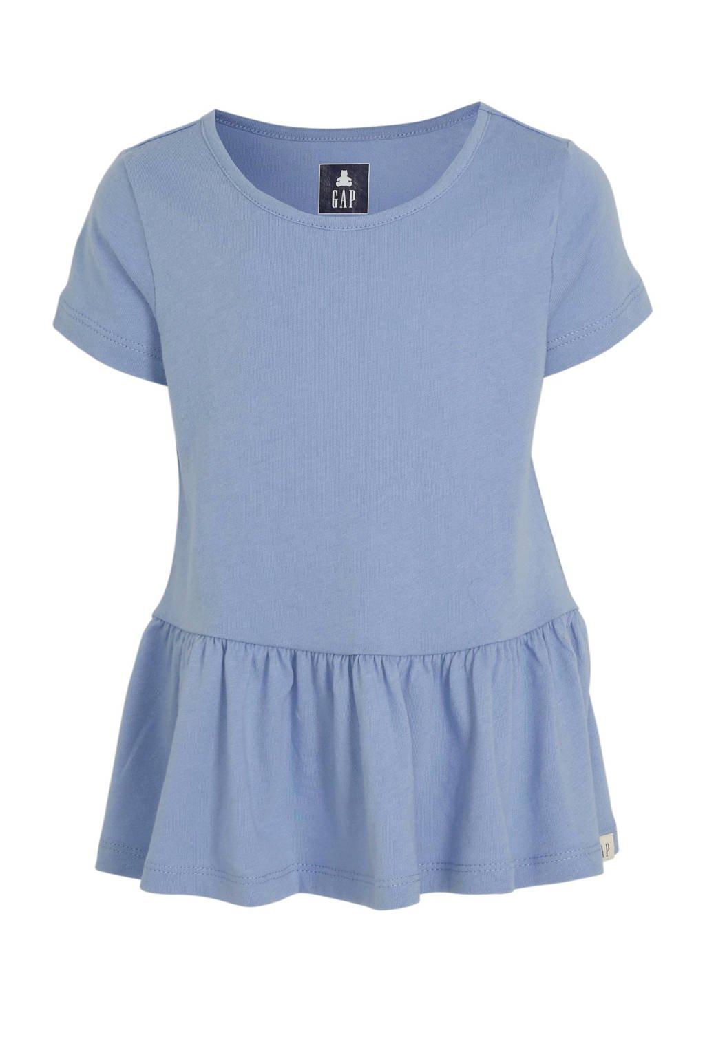 GAP jersey jurk met plooien lichtblauw, Lichtblauw