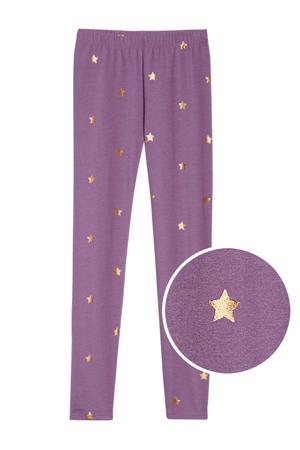 legging met sterren paars