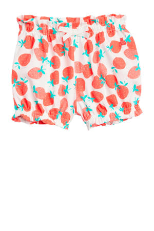 baby short met all over print wit/rood/turquoise