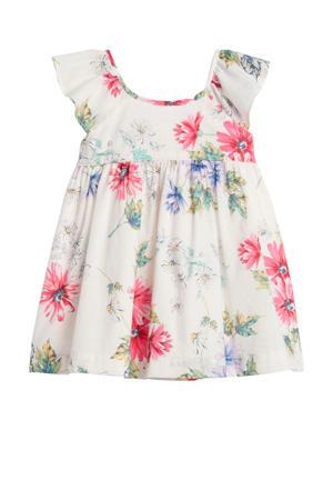 gebloemde A-lijn jurk wit/roze/lila