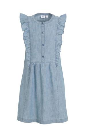jurk met volant grijsblauw