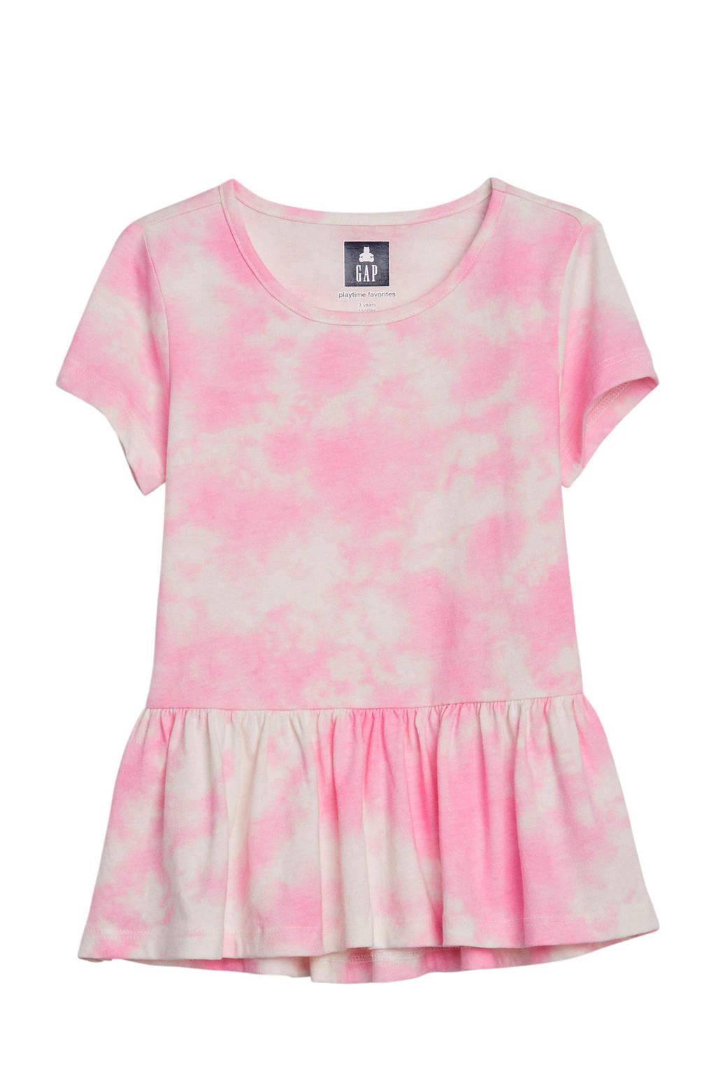 GAP tie-dye peplum T-shirt lichtroze, Lichtroze
