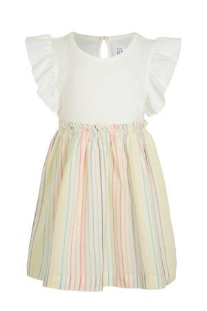 gestreepte A-lijn jurk ecru/multicolor