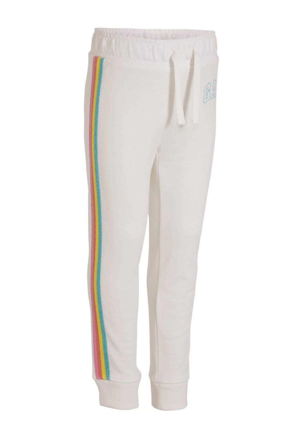 GAP joggingbroek met zijstreep wit/roze/geel, Wit/roze/geel