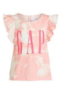 GAP T-shirt met logo en ruches wit/lichtroze/roze, Wit/lichtroze/roze