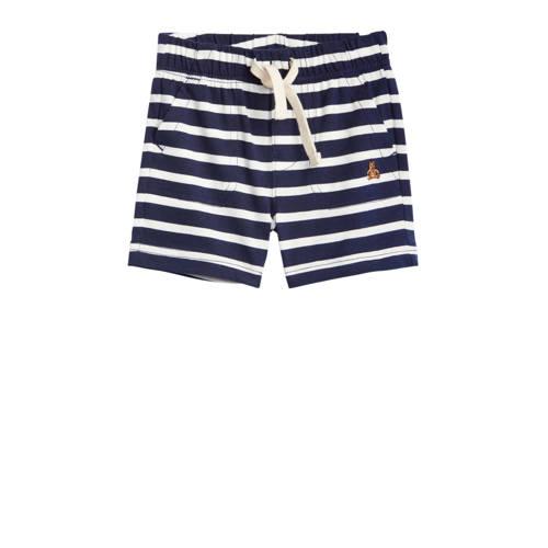 GAP baby gestreepte sweatshort donkerblauw/wit