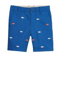GAP baby bermuda met all over print en borduursels blauw/oranje/wit, Blauw/oranje/wit