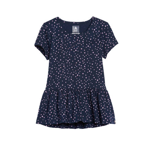 GAP peplum T-shirt met hartjes donkerblauw