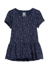 GAP peplum T-shirt met hartjes donkerblauw, Donkerblauw