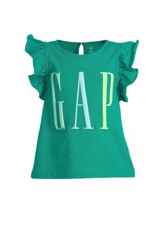 T-shirt met logo en ruches groen