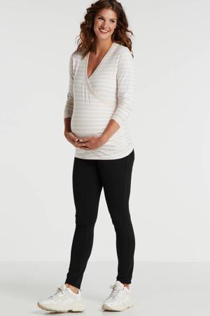 gestreepte overslag zwangerschaps- en voedingstop beige/wit