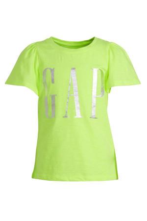 T-shirt met logo limegroen