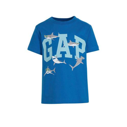 GAP T-shirt met logo blauw/wit