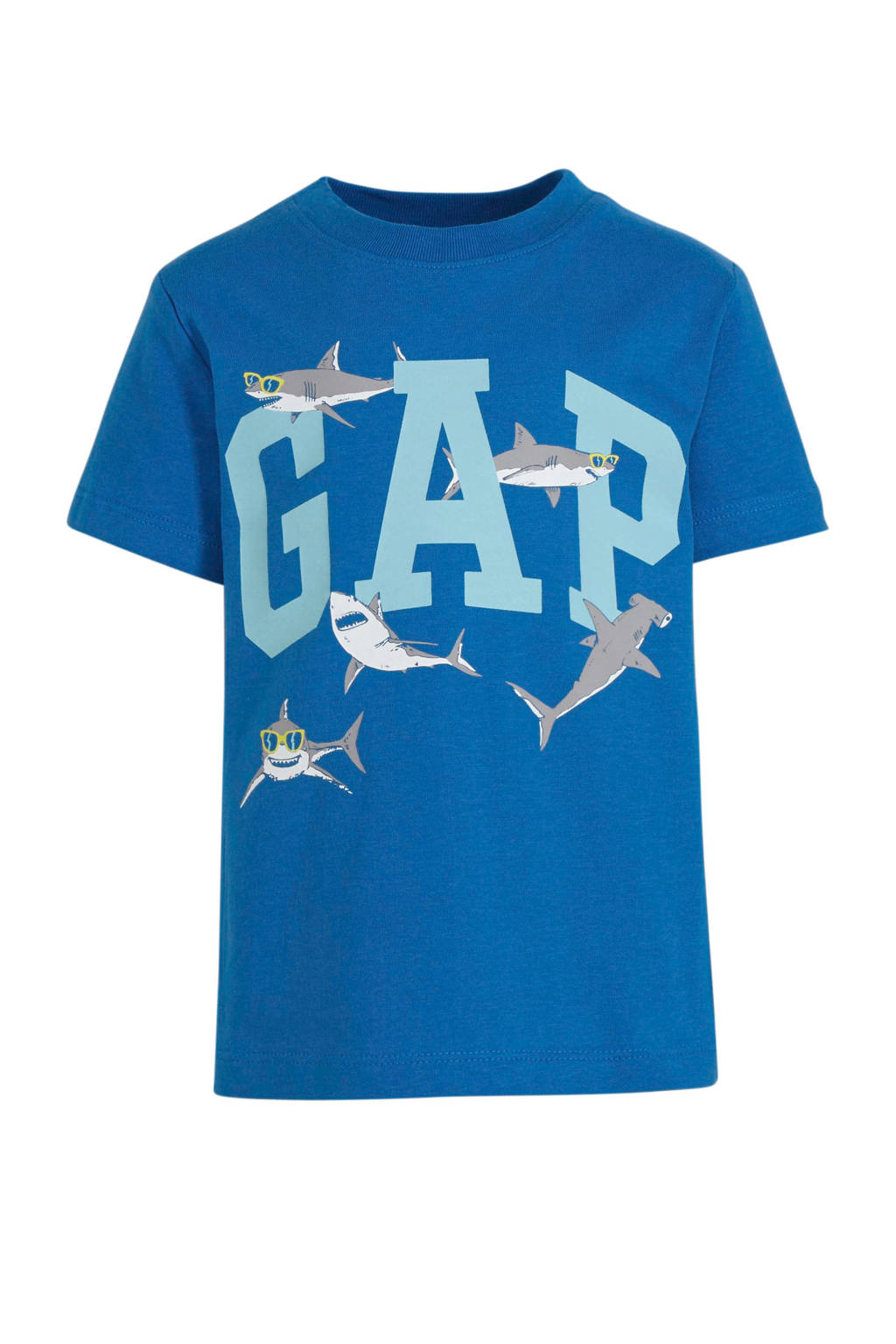 GAP T-shirt met logo blauw/wit, Blauw/wit