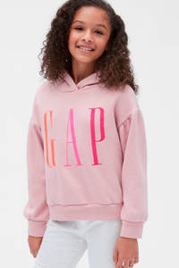 GAP hoodie met logo en borduursels lichtroze/oranje/roze, Lichtroze/oranje/roze