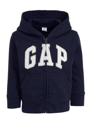 vest met logo donkerblauw/grijs/wit