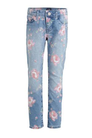gebloemde skinny jeans blauw